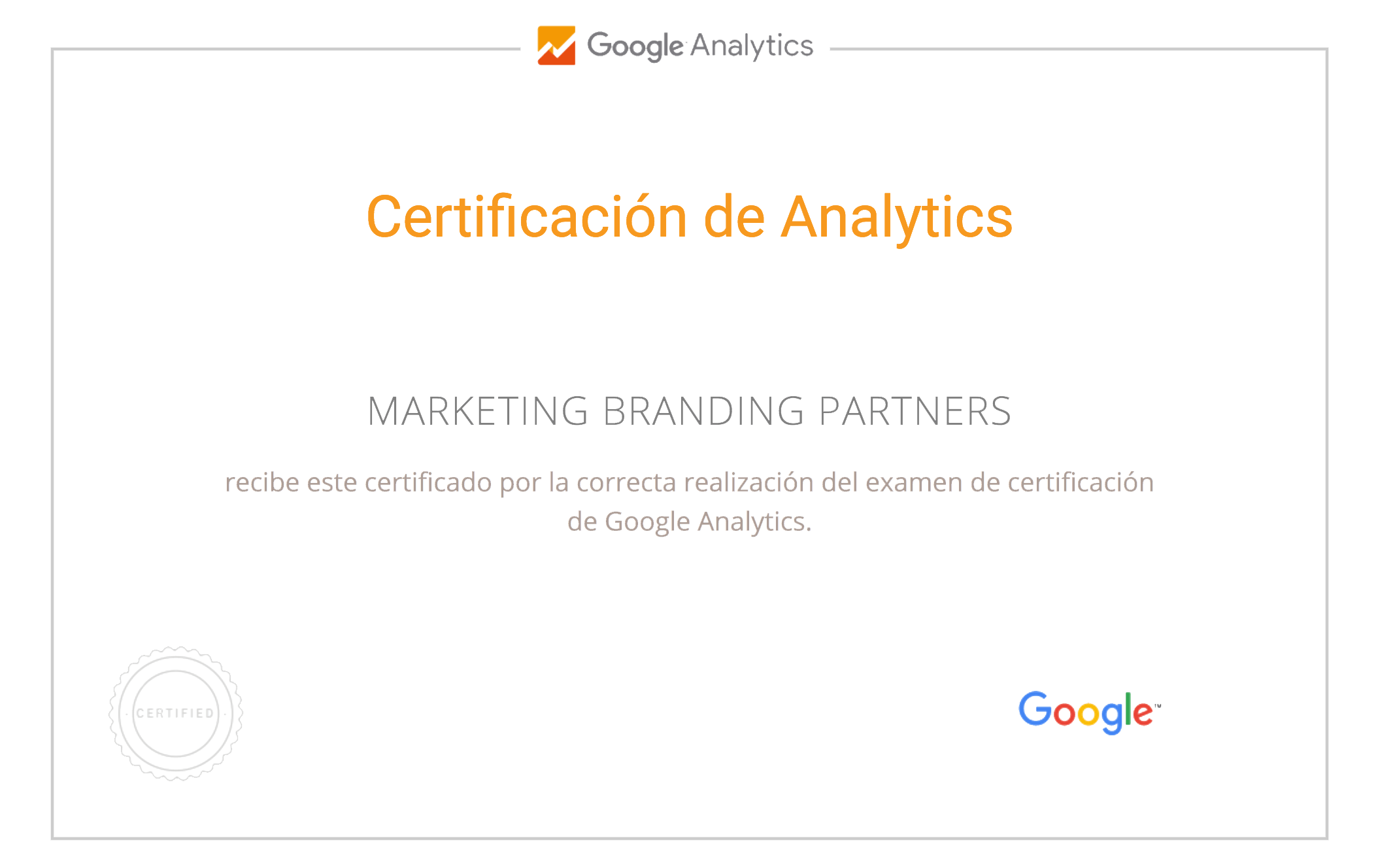 Marketing Branding Peru, Certificado Google analytics