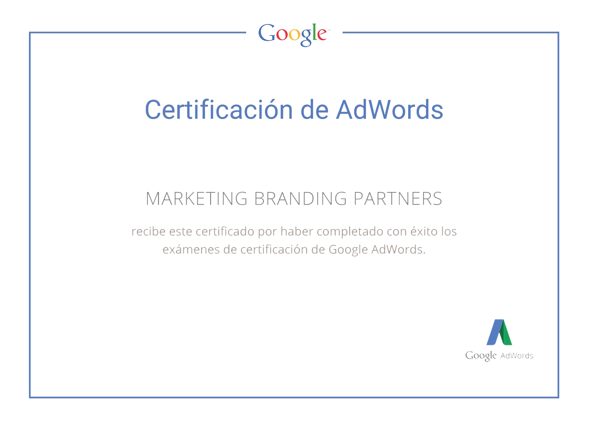 Marketing Branding Peru, Certificado Google Adwords