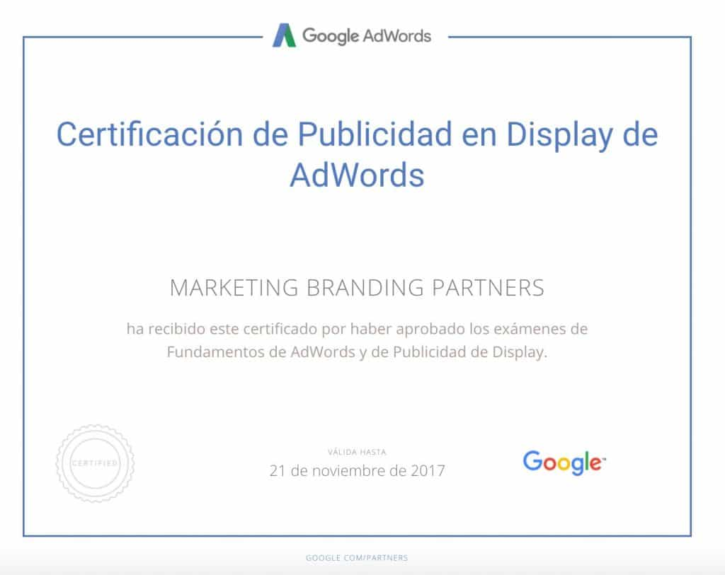 certificado google, certificado publicidad en display de google adwords