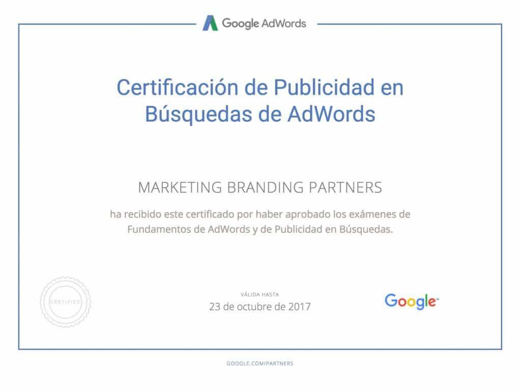 certificado google, certificado publicidad en busquedas de google adwords
