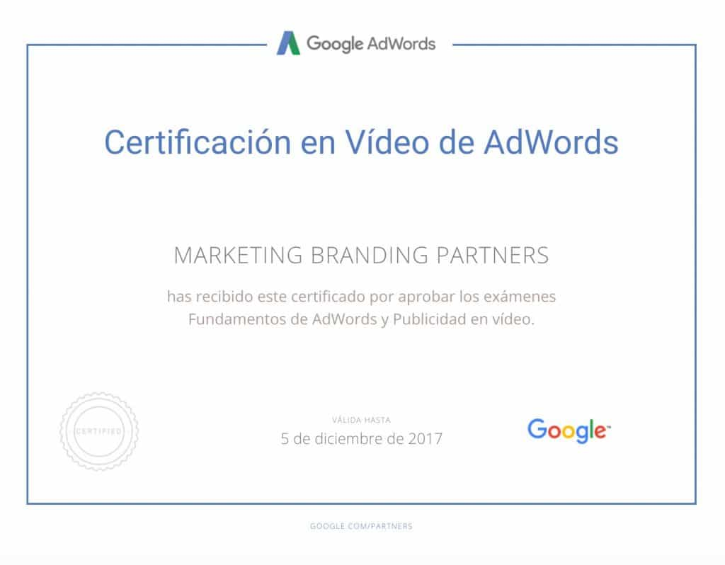 certificado google, certificado en video de adwords